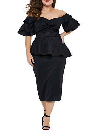 LALAGEN Womens Plus Size Ruffle Sleeve Peplum Cocktail Party Pencil Midi Dress Black XXL