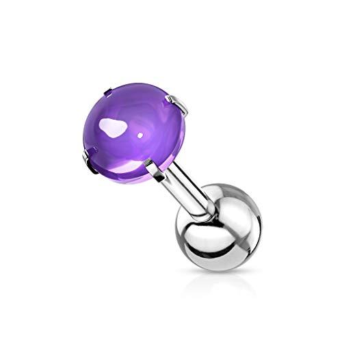 beyoutifulthings Mujer Hombre Niños Unisex acero inoxidable purpura Cubic Zirconia