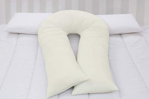 U Shaped Pillowcase Cover Body Bolster White Filled Maternity Pregnancy...