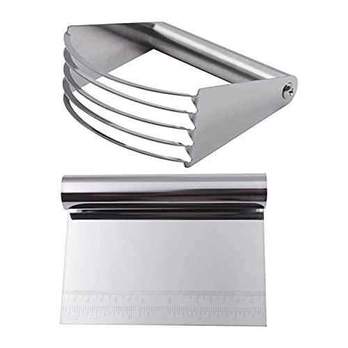 Huaji Juego de raspador de masa/cortador/picadora de acero inoxidable en polvo cortador de repostería con escala de medición para hornear cocina