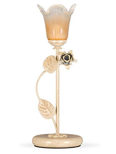 Helios Leuchten 403758 Florentiner Tischleuchte Tischlampe | Blüten chabby chic | Florale Lampe Leuchte Kronleuchter Landhausstil | 1 x E14