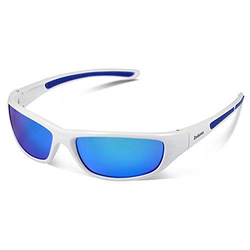 Duduma Tr8116 Polarisierter Sport Sonnenbrille für Herren und Damen Ski Fahren Golf Laufen Radsport Superleichtes Rahmen (Weißen Rahmen mit Blau Linse)