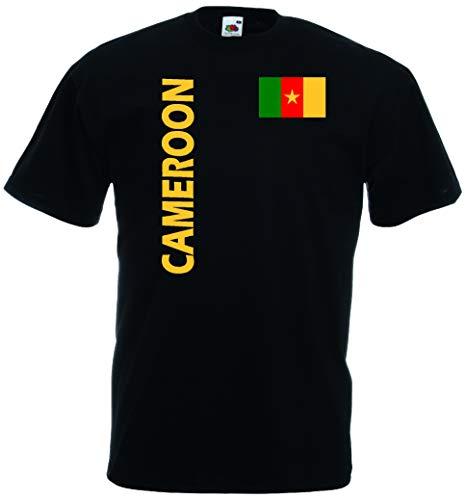Kamerun Herren T-Shirt Cameroon Trikot Fan Shirt quer schwarz XXL