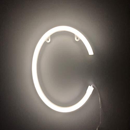 Smiling Faces UK Neon LED weiße Buchstaben Licht Zeichen - Wandbehang batteriebetrieben - Brief C