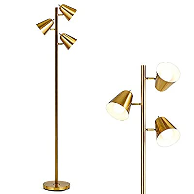 """Tangkula 3-Light Floor Lamp, 64"""" Mid Century Modern 3 Light Tree, Standing Tall Pole Lamp with 3 LED Bulbs and Adjustable Heads, Reading Light for Living Room & Bedroom, 360 Lighting (Antique Brass)"""