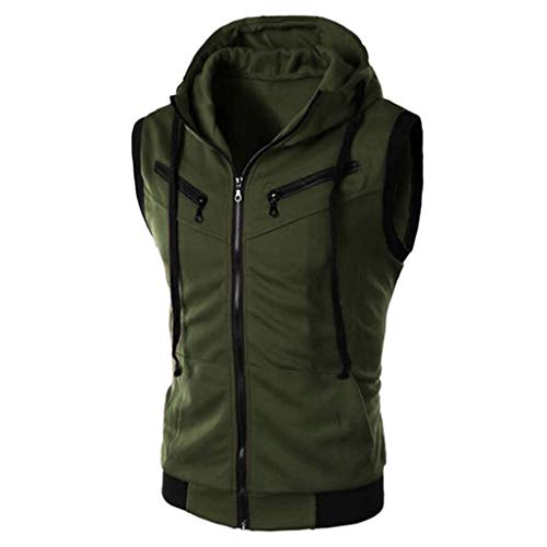 Riou Hoodie Männer Ärmellos Hooded Sweatshirt mit Reißverschluss Herren Sweatjacke mit Kapuzen Slim Fit Basic Fitness Trainings Weste Tanktop
