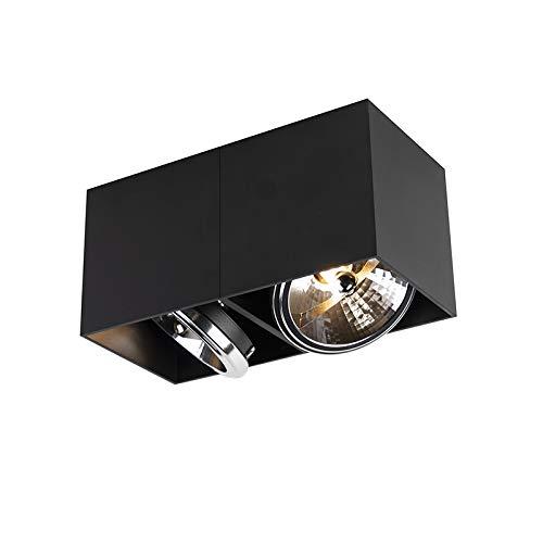 QAZQA - Modern DesignSpot | Spotlight | Deckenspot | Deckenstrahler | Strahler | Lampe | Leuchte rechteckig 2-flammig-flammig schwarz inkl. 2-flammig x G9 - Box | Wohnzimmer | Schlafzimmer | Küche - A