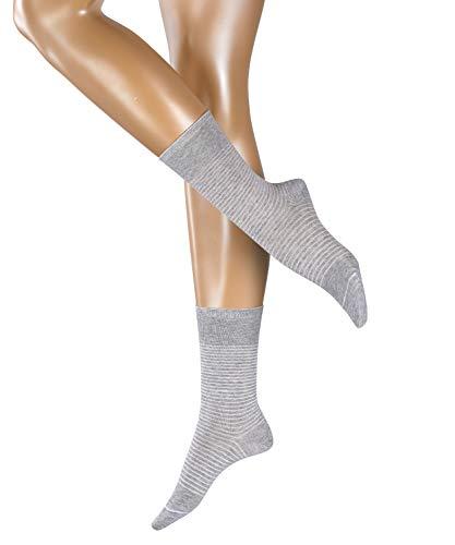 ESPRIT Damen Socken Fine Stripe 2er Pack - Baumwollmischung, 2 Paar, Grau (Light Grey 3400), Größe: 35-38