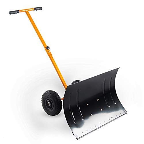 "Kapler Rolling Snow Pusher,29"" X19"" Large Push Snow Shovel with Wheels Driveway, Hand Push Pavement Snow Removal Tool"