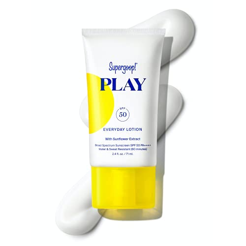 Supergoop! PLAY Everyday Lotion, 2.4 oz - SPF 50 PA++++ Reef-Safe, Broad Spectrum, Body & Face Sunscreen for Sensitive Skin - Water & Sweat Resistant - Clean Ingredients - Great for Active Days