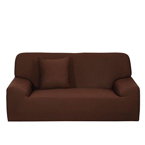 YeVhear - Funda de sofá extensible para sofá o sofá - Funda de poliéster elástico con una funda de almohada (color chocolate, mediano)