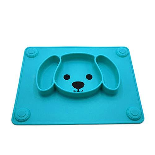 Xixihaha Platos para bebés Vajilla Alimentos para niños Contenedor Mantel Individual Platos para bebés Alimentación Infantil Recipiente de succión de Silicona-Azul