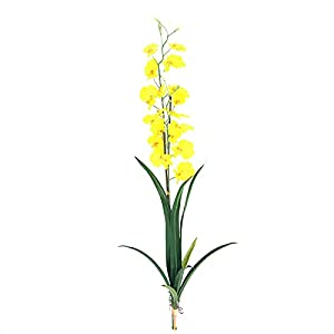 Silk Flower Arrangements Artificial Gladiolus ,5pcs Orchids Artificial Flowers Single Stem Gladiolus Fake Flowers for Home Garden Party Wedding Decoration(Vase not Included),Yellow,77cm