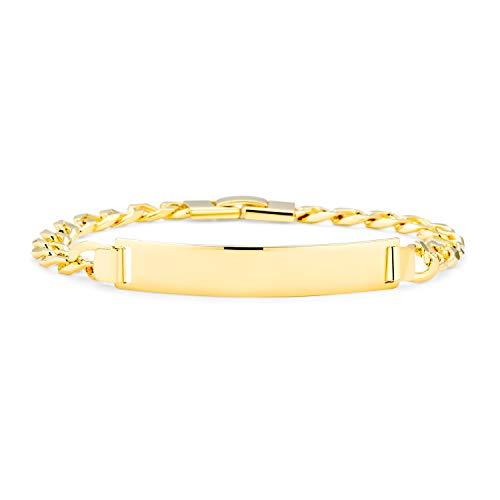 Bling Jewelry Curb Link Cubano Personalizado Brazalete De Entificación para Hombres Y para Mujer0 Medidor De Latón Chapado En Oro DEK
