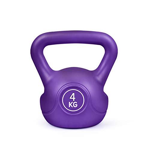 Kettlebell Pesi Set, 2kg, 4KG, 6kg, 8kg, ghisa Rivestiti in Gomma Kettlebell per Uomo e Donna, Colore Bilanciere Set Home Gym Esercizio Fitness Forza di Formazione,Viola,4KG