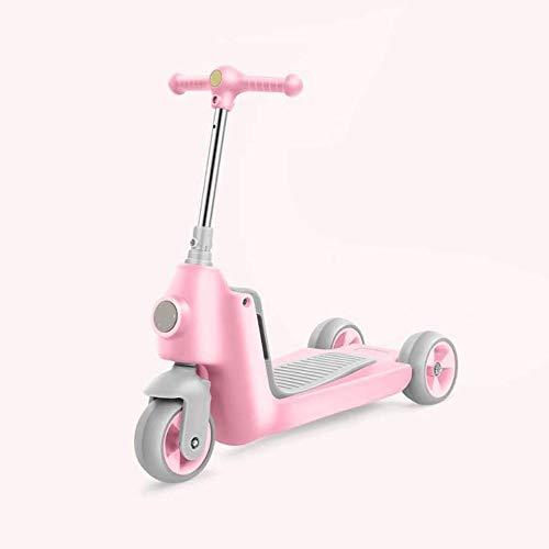 Kinder Scooter Drei-in-one Twist Car Scooter Abhebbarer Sitz sitzen kann fahrbar Drei-Rad-Kinderroller yyqt (Color : Pink)