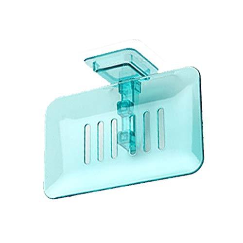 Yuxahiugfzh Disque de Savon Plato de jabón, material PP, ventilado y drenado, impermeable y a prueba de humedad, tamaño 13.4.cm * 8.7cm, no ocupa espacio, fácil de usar, (azul/gris) (Color : Blue)