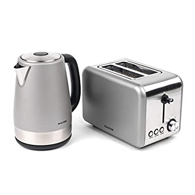 Salter COMBO-3648 Metallics Polaris Jug Kettle and 2-Slice Toaster Set, Titanium