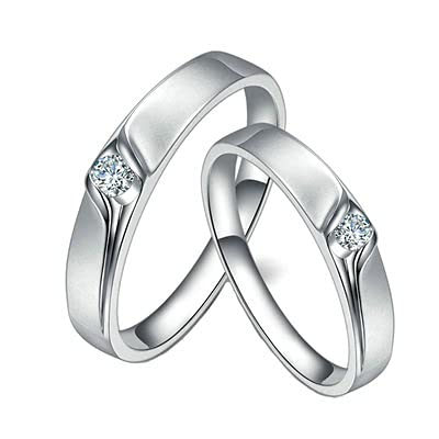 Bishilin Alianza de Boda de Oro Blanco de 18 Quilates para Mujeres y Hombres, Blanco Rojoondo Diamante Anillo de Compromiso de Matrimonio Regalos para Cumpleaños Navidad Oro Blanco