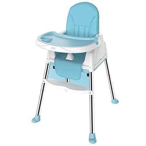 PTHZ Silla de Comedor, Silla Alta Plegable Multifuncional, Silla de Comedor de bebé Simple, sin BPA, Altura Ajustable, Adecuado para bebés de 6 Meses a 3 años,Azul