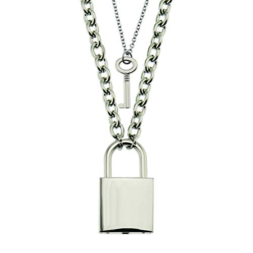 Stainless Steel Chain Punk Padlock Necklace Key Padlock Pendant Necklace Party Mens Chic Gifts, Lock With Key
