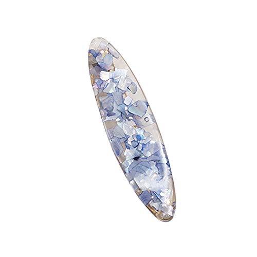 Homeofying Barrette épingle à cheveux rectangulaire en résine Motif floral Bleu Rose