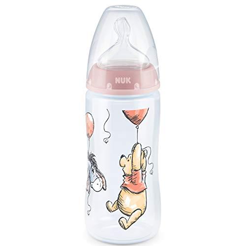 NUK 10216273 Disney Winnie Puuh First Choice+ Babyflasche, kiefergerechter Trinksauger, 300ml, 6-18 Monate, rosa, 107 g