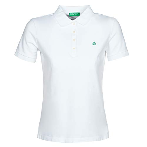 United Colors of Benetton Damen Polo Poloshirt, Weiß (Bianco 101), Large
