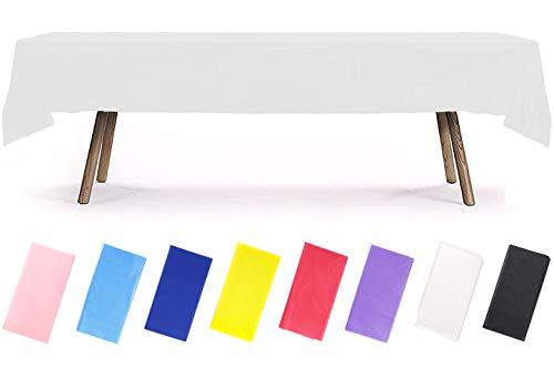 PartyWoo Mantel Blanco, Mantel Rectangular de 54 x 108 Pulgadas, Mantel de Plástico para Mesa de 6 a 8 pies, Mantel Plástico, Mantel Impermeable para Fiesta, Cumpleaños, Boda (1 Pieza)