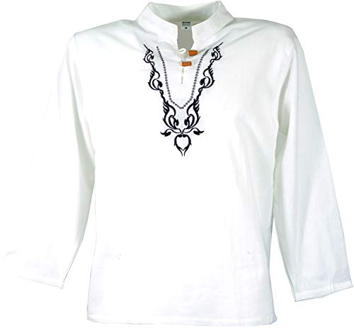 Guru-Shop, Camicia Yoga Ricamata, Camicia Goa, Camicia Casual Ricamata, Camicia Medievale, Bianco/marrone, Cotone, Dimensione Indumenti:M, Camicie
