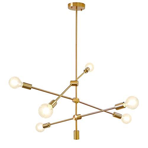 LynPon Sputnik Kronleuchter Modern Pendelleuchte 6 Flammig Hängelampe Brass Gold für Esszimmer Zimmer Wohnzimmer Küche Restaurant