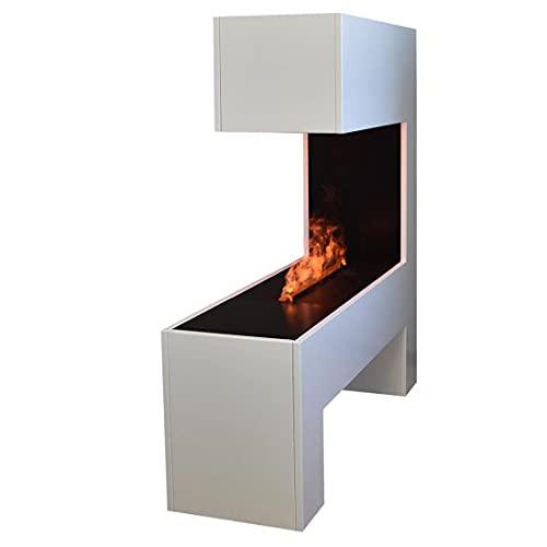 GLOW FIRE Mozart Elektrokamin Opti Myst Cassette 500, 3D Wasserdampf Feuer, elektrischer Raumteiler Standkamin mit Fernbedienung | Regelbarer Flammeneffekt, 120 cm, Weiß incl. Soundmodul-Knistereffekt