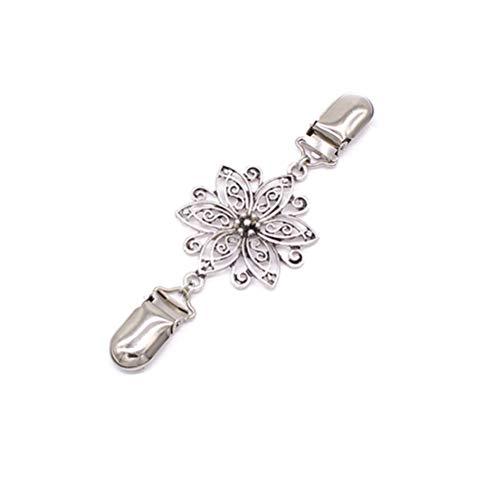 fenical Jersey Clips brillantes flores forma Cardigan Cuello Clip para mujeres niña (Plata)