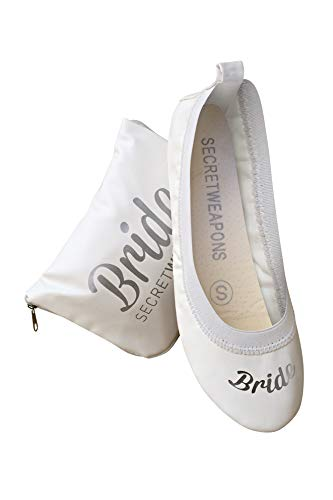 White Bride & Bridesmaid Fold Up Ballet Flats-Foldable Bridal Wedding Party Shoes with Bride Print-Cute Purse unfolds into a Tote Carry Bag(X-Large Size 11-12)