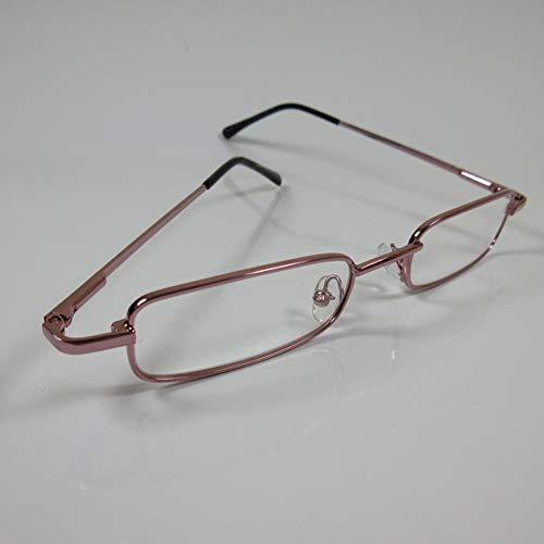 CEPEWA Schmale Lesebrille rosa Metall Fertigbrille Etui SIE & IHN Lesehilfe Angebot +3,0