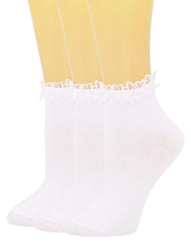 SEMOHOLLI Women Socks,Comfortable No-Show Cotton Socks Princess Socks Ankle Socks (3 Pairs-white)