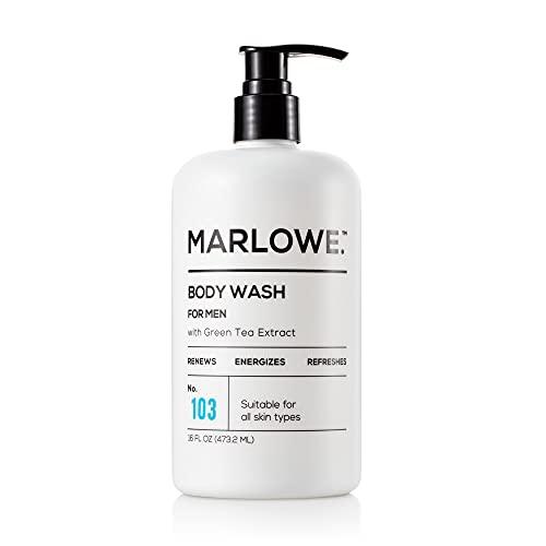 MARLOWE. N° 103 Gel corporal para hombre 16 oz | Energizante y Refrescante | Incluye extractos naturales | Aloe & Extractos de té verde