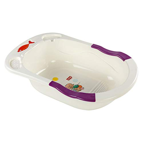 LuvLap Baby Bathtub with anti-slip base (White & Purple)