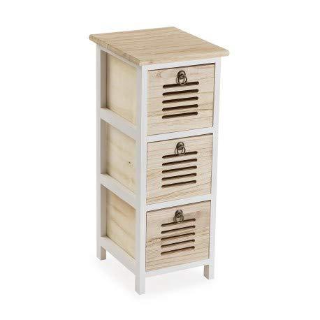 Regala Feliz Kommode mit 3 Schubladen, Weiß und Holz, 25 x 29 x 62 cm