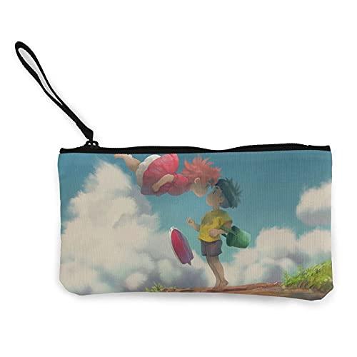 Monederos de lona Ponyo on Cliff se pueden utilizar como estuche de viaje cosmético para lápices de viaje, con cremallera, bolsa de efectivo para estudiantes, hombres y mujeres