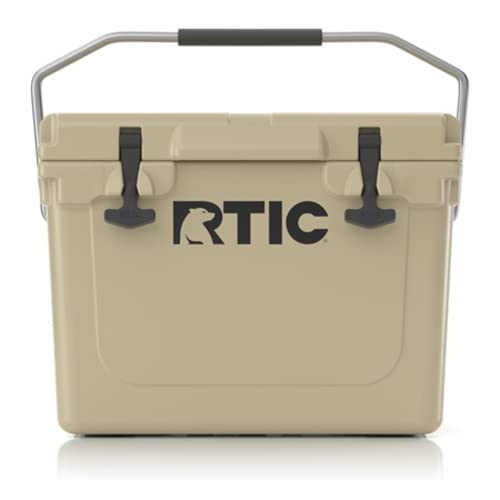RTIC Hard Cooler 20 qt, Tan, Ice Chest with Heavy Duty...