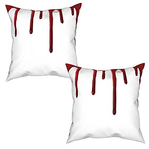 Pack de 2 Fundas de Almohada,Sangre Que Fluye Horror Spooky Halloween Zombie Scary Ayúdame Frase,Funda de Cojín Cuadrado de Protectora de Almohada para Sofá Cama Decoración del Hogar (45x45cm) x2