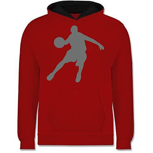 Sport Kind - Basketballspieler - 152 (12/13 Jahre) - Rot/Schwarz - Basketballspieler - JH003K - Kinder Kontrast Hoodie