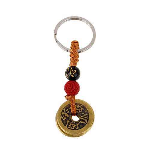 XIAN Fortune Chinese Feng Shui Antique Coins Keychain for Wealth and Success Jewelry