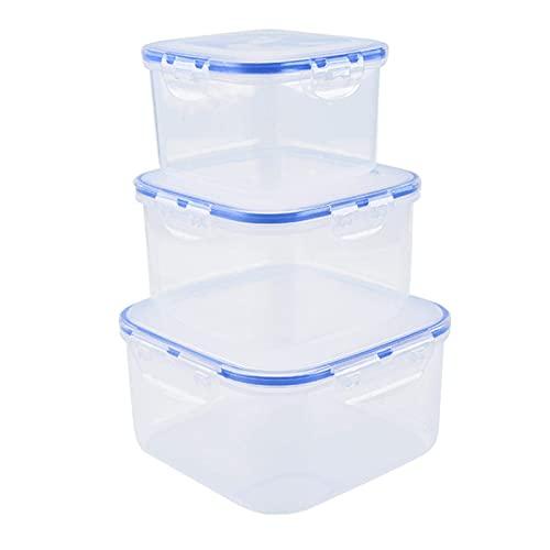 ywewsq Recipiente de plástico Cuadrado para almacenar Alimentos de 3 Piezas con Tapa, sin BPA, Apto para microondas y refrigeradores