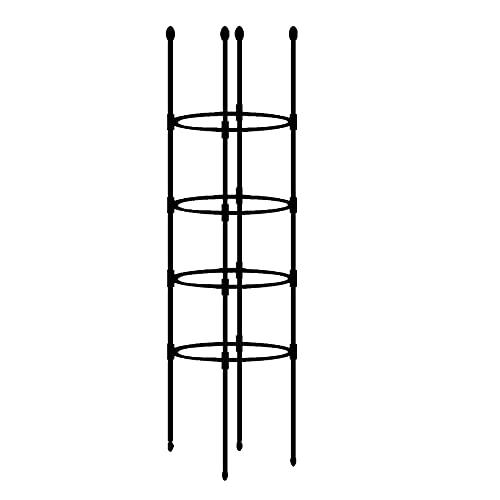 BDSJBJ Garten-Rankgitter für Kletterpflanzen, 174 cm, verstellbare Höhe für Kletterpflanzen und Blumenständer, Pflanzturm für Pflanzen, Tomaten, Trompeten, Reben (schwarz)