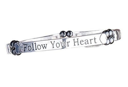 Armband Magnetarmband Follow your Heart, Metall Armreif Affirmationsarmband bioenergetisch, Magnet Kügelchen je 600 Gauss