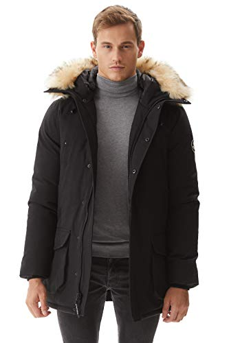 Winter Coats for Men, Molemsx Men's Waterproof Heavyweight Parka Jacket with Trim Faux Fur Hood Lined Down Alternative Skiing Mountain Coat for Cold Weather Mens Work Jacket Gifts for Men Black XL
