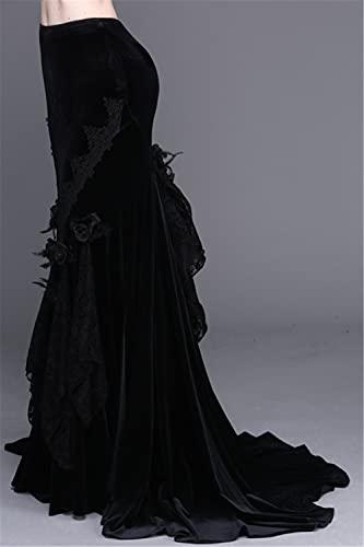 QSMIANA Falda de tenis Negro Sexy Sirena Falda Rosa de Encaje Aplastado Terciopelo Falda de Cola de Pez Negro Largo de Noche Lápiz Faldas, Niñas, negro, XS