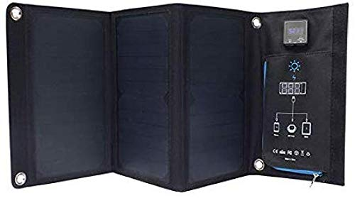 ZSPSHOP Cargador Solar para Exteriores De 21 Vatios Cargador De Energía Solar Plegable con Paneles Solares Puertos USB Duales Salpicaduras De Lluvia A Prueba De Polvo Sin Batería De Litio Incorporada